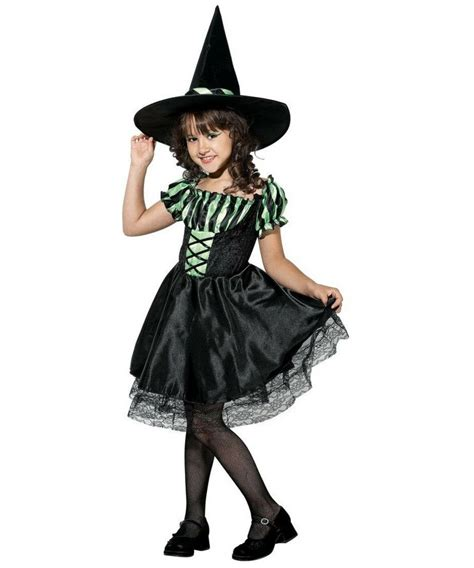 Lime Striped Witch Kids Halloween Costume - Girls Witch