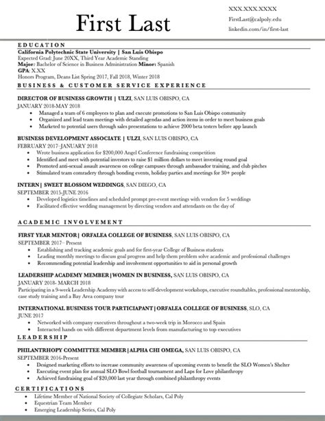 Resume Examples & Templates | Orfalea Student Services