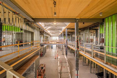 Cross Laminated Timber (CLT) is used throughout the