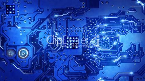 computer circuit board blue loopable background: Royalty
