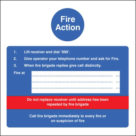 Fire Action Hotel Sign   SSP Print Factory
