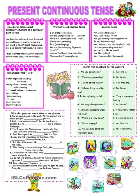 Present Continuous Tense Worksheets