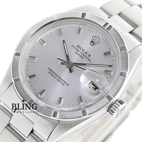 Vintage 34mm Men's Rolex Oyster Perpetual Date Stainless