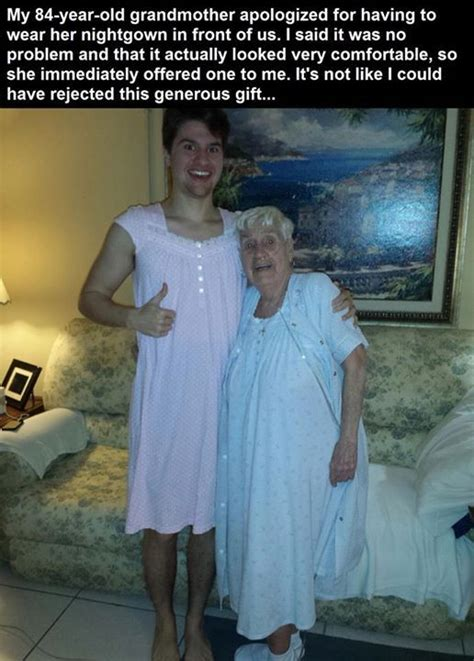 Grandma Gives Grandson A Night Gown Pictures, Photos, and