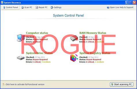 System Recovery virus removal
