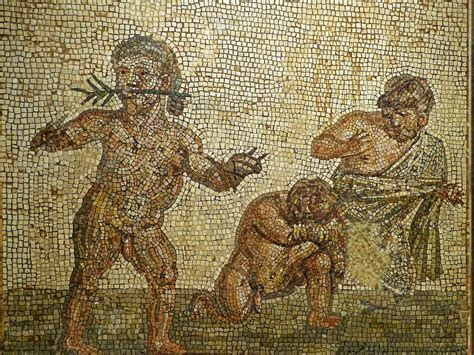 Mosaic depicting dwarf boxers with victorious boxer wearin
